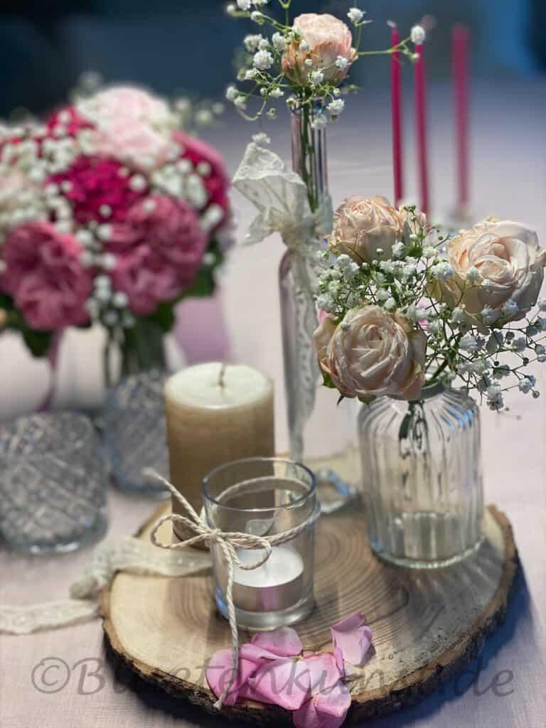 EventFloristik Tisch Dekoration festlich für Geburtstag Hochzeit Taufe