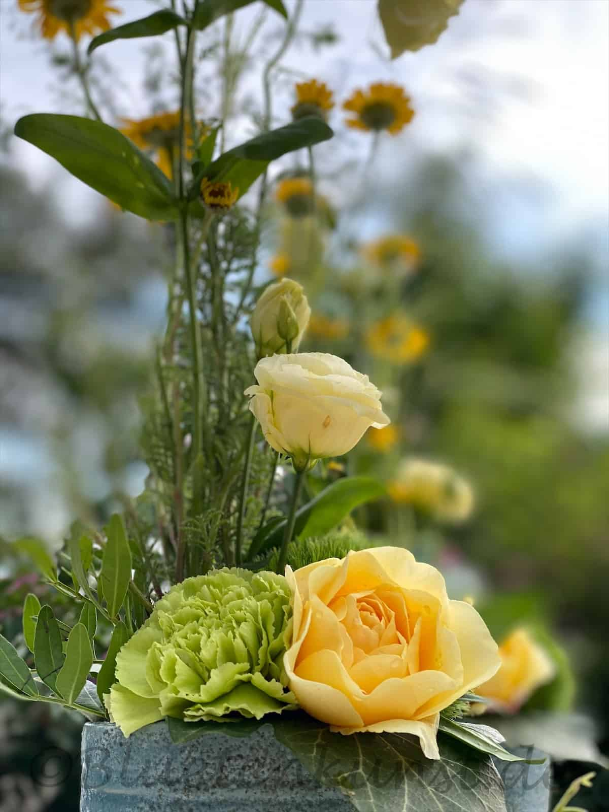 Tischdeko für Geburtstag in Karlskron mit gelbe Gartenrose